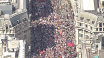Aerial view of London anti-Trump protest