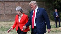 Do Trump and May hold hands every time?