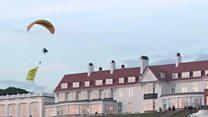 Glider protester at Trump's resort