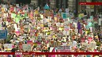 درگیری مخالفان و موافقان سفر ترامپ، در لندن