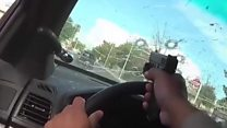 Officer shoots through own windscreen during chase