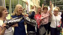 Sir Cliff fans sing 'Congratulations' after win