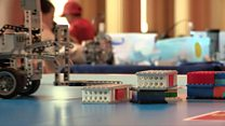 Teenagers compete in robot-building