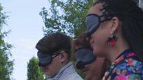 Blind man gives blindfolded tour