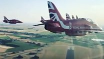 Red Arrows return to base after airshow