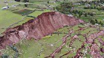 Cómo son las profundas grietas que hicieron desaparecer un pueblo en Perú