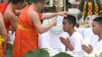 Thai boys shave their heads to be monks