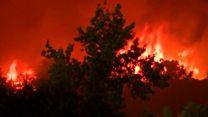 California wildfire tears through homes