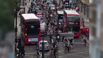 'Hundreds' of young cyclists in traffic jam