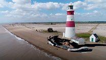 Lighthouse's battle against the sea