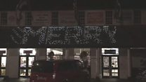 Christmas lights turned on at Trago
