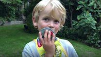 Cerebral palsy boy races for friend