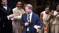 Prince Harry gets up with Hamilton cast
