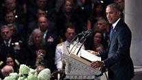 オバマ氏、マケイン氏は支持者に反論し「アメリカの本質を擁護」