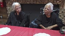The twins celebrating their 102th birthday