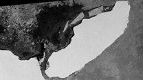 Monster iceberg's pivot and turn