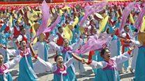 North Korea parade shows off military strength
