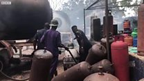 Two pipo don die for petrol station afta gas cylinder explode