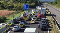 Scene of M5 following crash involving lorries