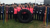 Ladies flip for giant tyre challenge