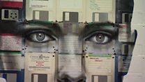 Obsolete floppy disks turned into art