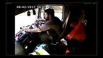 Driver checks his phone as he smashes into car