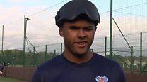 Blind footballer meets his England heroes