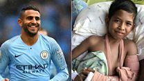 Football star's message to quake survivor