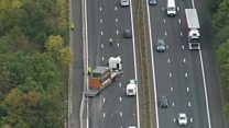 Helicopter footage of M4 crash scene