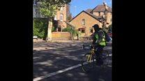 London cyclist in falling tree near miss