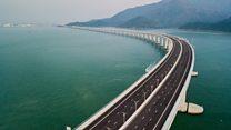 Flying over the world's longest sea bridge