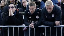 Leicester City players pay their respects