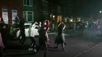 Zombie flash mob perform Thriller
