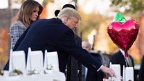 Trump visits Pittsburgh shooting site