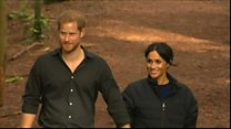 Meghan and Harry visit the Redwoods Tree Walk in New Zealand