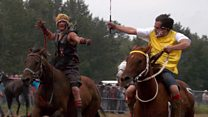 The horse racers with no saddle or helmets