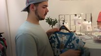 Recycling clothing at cashless swap shop