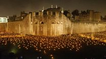 Tower of London illuminated for Armistice tribute
