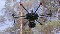 Thermal rescue drone finds woodland wanderers