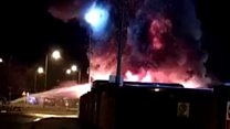 Buses burn in large depot fire