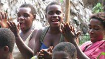 Bayaka women singing in Congo rainforest