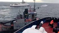 Russian ship collides with Ukrainian tugboat