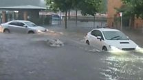 Flash-flooding as storms hit Sydney