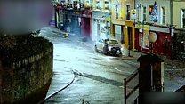 CCTV shows car crashing into lamppost