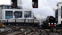 Royalty arrives on board steam train