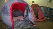 Charity puts up tents indoors for winter