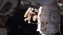 Samples cut around Soyuz hole in spacewalk