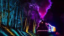 Christmas train lights up countryside
