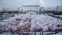На севере Китая в зимнее солнцестояние жители создают облако