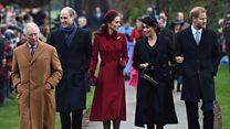 Royals greet Sandringham crowd after service